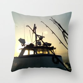 Fishing At Dawn Throw Pillow