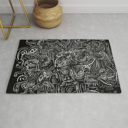 Street Graffiti Black and White Primitive Art Rug