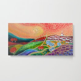 The Hilltop Village Metal Print