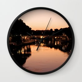 Tiber river at sunset Wall Clock
