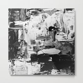 contemporary Palette Knife Abstract Plaid 8 - Black & White Metal Print