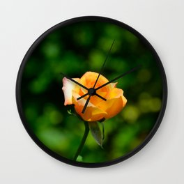 Yellow Orange Rose by Teresa Thompson Wall Clock