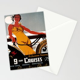 retro iconic 9 day cruises poster Stationery Cards