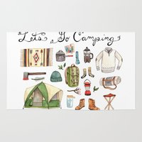 camping Area & Throw Rugs featuring Let's Go Camping by Brooke Weeber