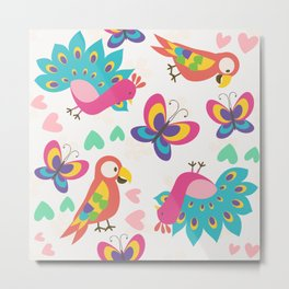 Exotic Birds & Butterflies Pattern Metal Print