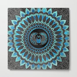 Egyptian Scarab Beetle - Gold and Blue glass Metal Print