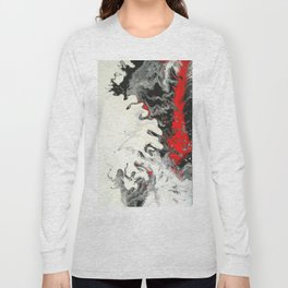 Black Red White Fluid Marble Painting Abstract Art Long Sleeve T-shirt