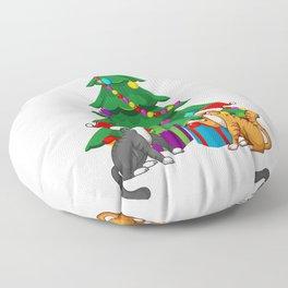 Meowy Cat Lover Xmas Christmas Floor Pillow