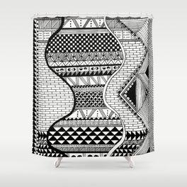 Wavy Geometric Patterns Shower Curtain