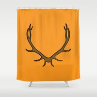 stag Shower Curtains featuring Stag by Pig's Ear Gear