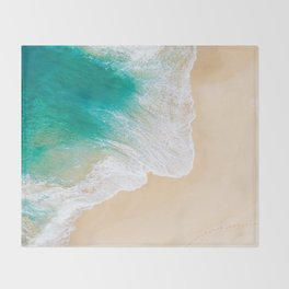 Sand Beach - Waves - Drone View Photography Throw Blanket