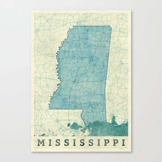 Mississippi State Map Blue Vintage Canvas Print