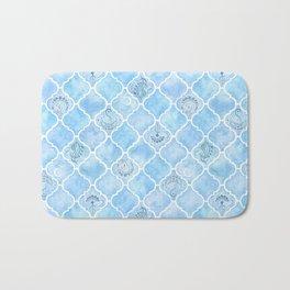 Watercolor Arabesque Tiles with Art Nouveau Focal Designs in Blue Bath Mat