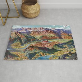 Vintage Trient and the Brenta Dolomites Italy Relief Map Rug