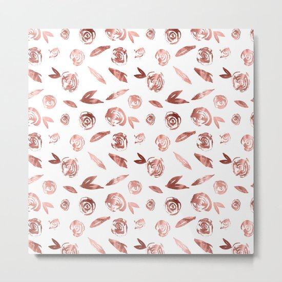 Rosette Rose Gold Metal Print
