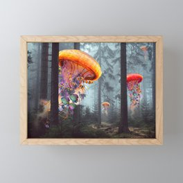 ElectricJellyfish Worlds in a Forest Framed Mini Art Print