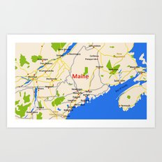 Map of Maine state, USA Art Print