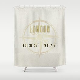 London - Vintage Map and Location Shower Curtain