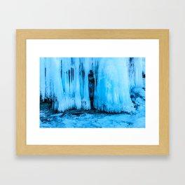 Ice curtain of the lake Baikal Framed Art Print