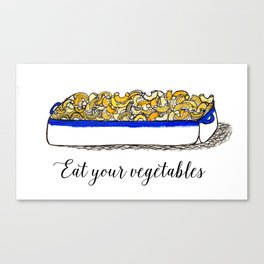 Illustration: Eat Your Vegetables, Food Art, Kitchen Art, Mac n' Cheese Canvas Print