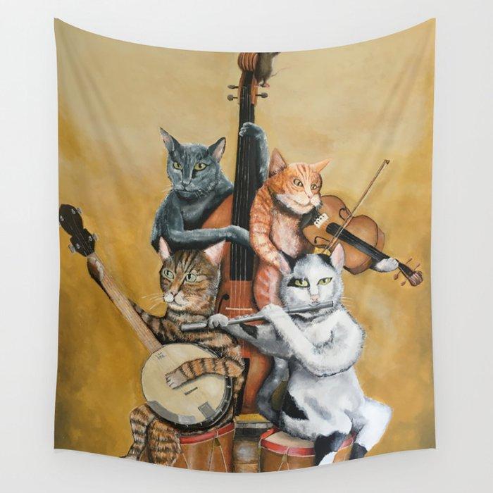Cat Quartet Wall Tapestry