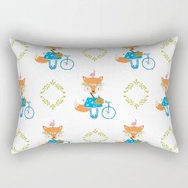 Girl Fox with Bike Pattern Rectangular Pillow