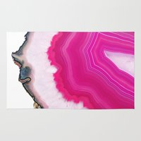 agate Area & Throw Rugs featuring Pink Agate Slice by cafelab