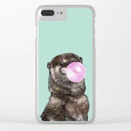 Otter with Bubble Gum Clear iPhone Case