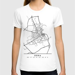 DOHA QATAR BLACK CITY STREET MAP ART T-shirt