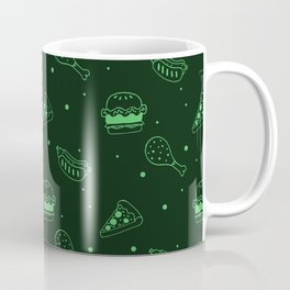 Fast Food Snacks Attack - Pizza Pie Hot Dogs Chicken Wings! on Green Coffee Mug