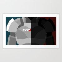 n7 Art Prints featuring Minimal N7 by ZestfulFibre