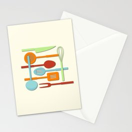 Kitchen Colored Utensil Silhouettes on Cream III Stationery Cards
