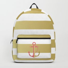 AFE Nautical Pink and Gold Anchor Backpack