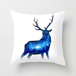 Double Exposure Deer | Space Deer | Night Sky Forest | Space Double Exposure Throw Pillow