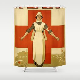 Vintage poster - Red Cross Shower Curtain