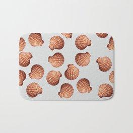 Grey Big Clam pattern Illustration design Bath Mat