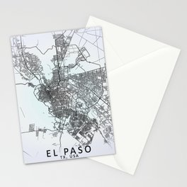El Paso, TX, USA, White, City, Map Stationery Cards