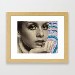 twiggy flower rainbow Framed Art Print
