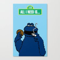 cookie monster Canvas Prints featuring Cookie Monster by M.REYES