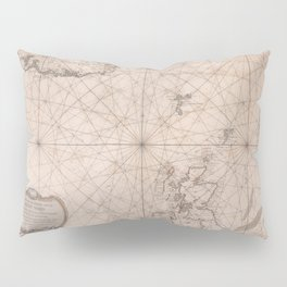 Portolan map of the North Sea, the Norwegian Sea with adjacent coast and countries 1768 Pillow Sham