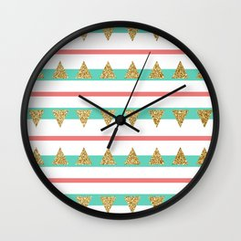 Mint Coral Gold Glitter Triangle Stripes Wall Clock