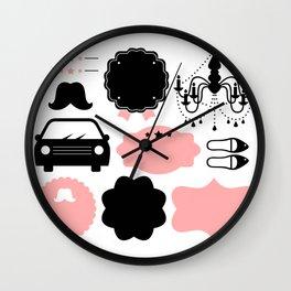 Set of vintage design elements Illustration ( pink and black ) Wall Clock