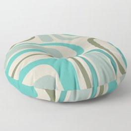 Palm Springs Mid Century Modern Abstract Pattern in Vintage Ecru, Turquoise, and Olive Floor Pillow
