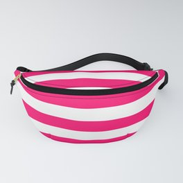 Bright Fluorescent Pink Neon and White Large Horizontal Cabana Tent Stripe Fanny Pack