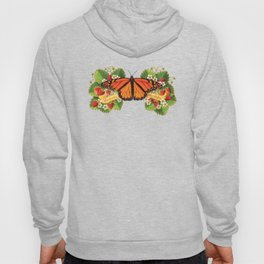Monarch Butterfly with Strawberries on Aqua Hoody