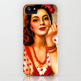 Mexican Sevillana Calendar Girl by Jesus Helguera iPhone Case