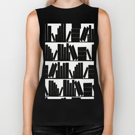 Library Book Shelves, black and white Biker Tank