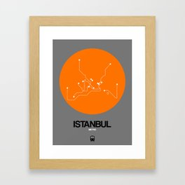 Istanbul Orange Subway Map Framed Art Print