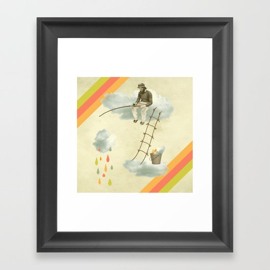 The fisherman who was cleaning the sky from the clouds Framed Art Print