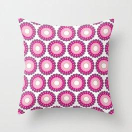 Purple pink circled polka dots on white Throw Pillow